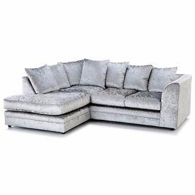 ---Flat 70% Off Now---! Cheapest Price!! Brand New Dylan Crush Velvet Corner Or 3+2 Sofa Set