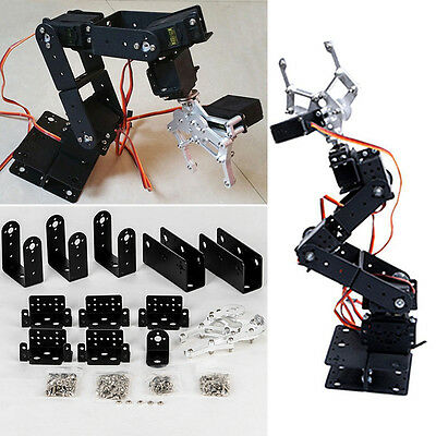 6 Dof Aluminium Mechanical Robotic Arm Clamp Claw Mount Robot Kit Black 47Cm Set