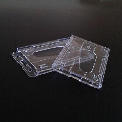 5pcs Id Badge Holder Hard Plastic Horizontal Vertical Clear Holder