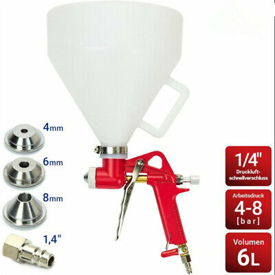 6l Air Hopper Spray Gun Paint Texture Drywall Wall Painting Sprayer W 3 Nozzles