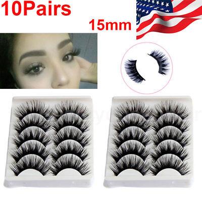 10Pairs Natural Long Eye Lashes Handmade Thick Black False Eyelashes Makeup Sets