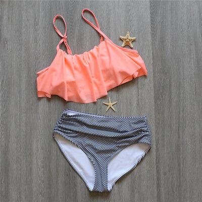 Women Falbala High Waisted Swimwear Bikini Set Swimsuit Bathing Suit  Ebec