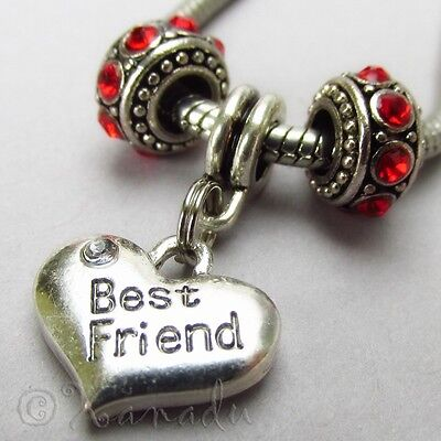 Best Friend European Heart And Birthstone Beads For Large Hole Charm