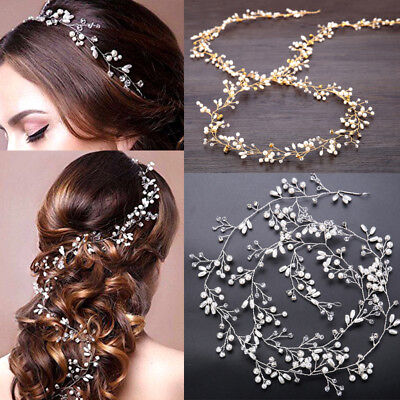 Women Girl Bride Wedding Crystal Pearl Hair Band Garland Flower Headband (Flower Headband)
