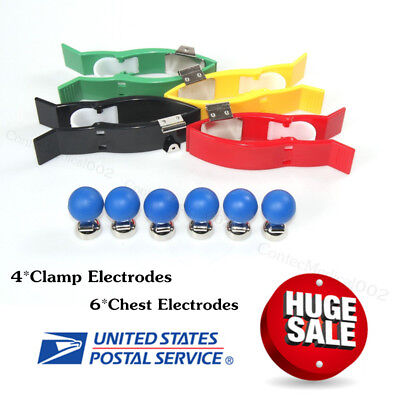 Ecg Ekg Chest Suction Electrodes 6 And Clamp Electrodes 4 For Banana 4.0