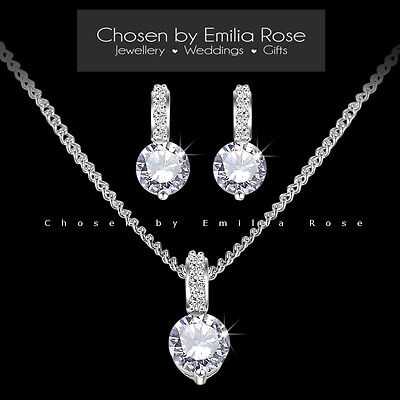 Wedding Jewelry Set, Bridesmaid Crystal Rhinestone Necklace & Earrings Jewellery