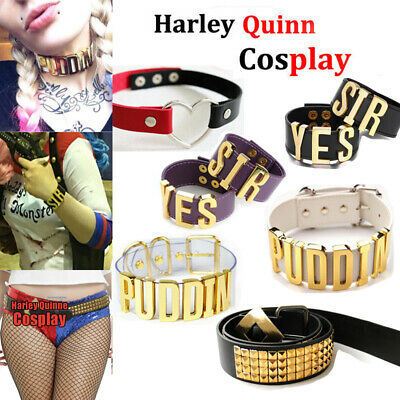 Harley Quinn Choker Suicide Squad Puddin Necklace+ BRACELET Cosplay Halloween - Harley Quinn Leather Costume
