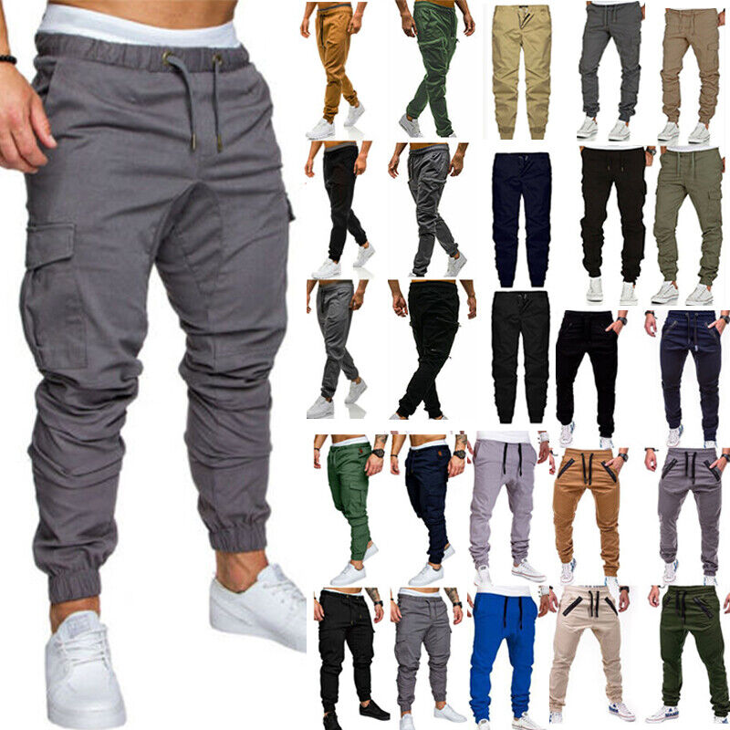 Mens Casual Trousers Joggers Cargo Combat Sport Fitness Jogg