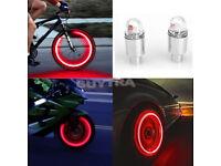 Pair LED Light Valve Dust Caps For Car Van Bike Wheels