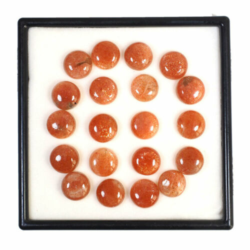 20 Pcs Natural Orange Sunstone 12mm Round Majestic Untreated Cabochon Gemstones