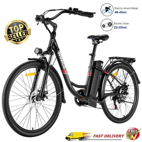 26IN 350W EBike Fashion Electric Bike Mountain Bicycle City Commute Disc-Brake->
