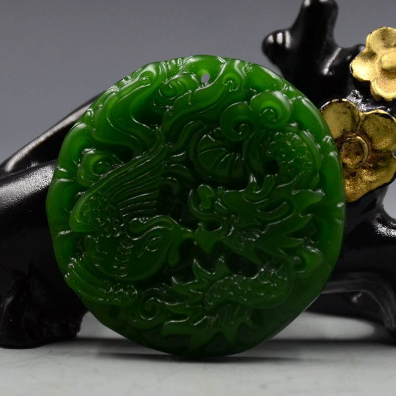 100% Natural Green Hetian Jade Hand-carved Sculpture Dragon & Phoenix Pendant