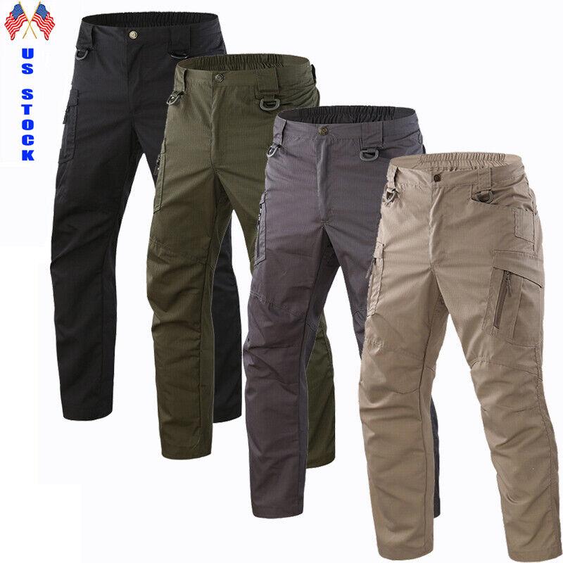 Us Tactical Combat Waterproof Pants Men Work Cargo Trousers Outdoor Hiking Pant