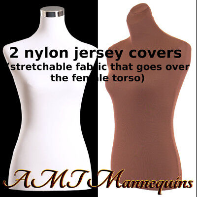 2 Nylon Jerseys- Brnwht Torso Covers To Renew Female Mannequin Torso Size Sm