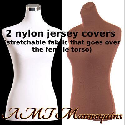 2 Nylon Jerseys- Brnwht Torso Covers To Renew Female Mannequin Torso Size Sm