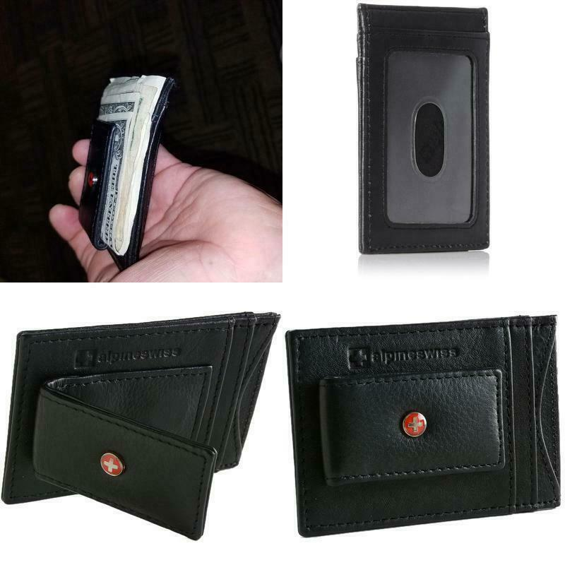 ORIGINAL Alpine Swiss Mens Slim Poket Wallet Leather With Mo
