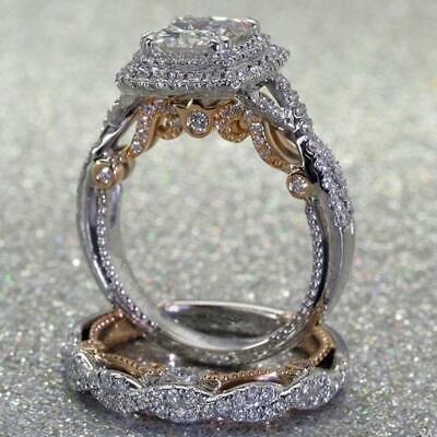 Fashion Womens Lady Faux Diamond Ring Wedding Engagement Groom Band Rings New YD