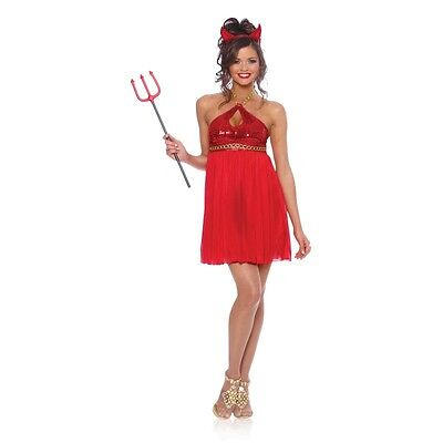 Devilicious DEVIL Lady Costume Baby Doll Halter Red Dress Horn Adult Large 12 14 - Baby Doll Dress Costume