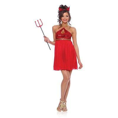 Devilicious DEVIL Lady Costume Baby Doll Halter Red Dress Horn Adult Large 12 14