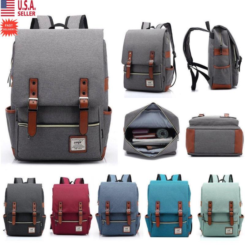 8e752363ee8a 1 x Canvas Vintage Backpack Travel Backpack Daypack Hiking Camping School  Rucksack for Women Men (Black)