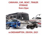 Caravan Storage Car Boat Horse box Camper van trailer inside/outside nr. Okehampton from £5pw