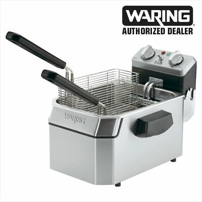 Waring Wdf1500b Commercial Heavy Duty 15lb Single Deep Fryer 208v 1 Yr Warranty