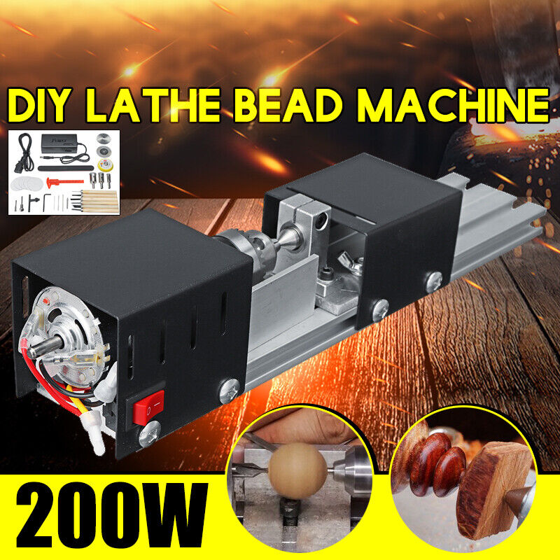 200W Mini Lathe Beads Polisher Machine For Wood Woodworking DIY Rotary Tool  !