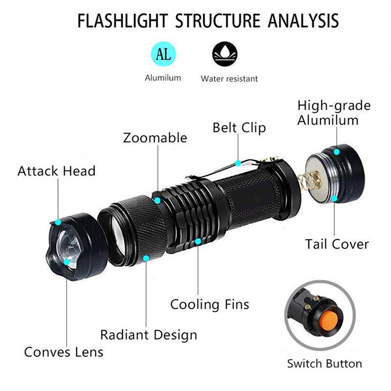 UV Ultra-Violet LED Flashlight Blacklight Light 395//365nM Inspection Lamp Torch~