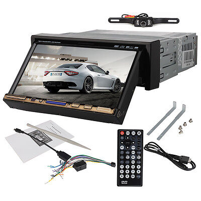 "7"" Inch In Dash Single 1 Din Car CD DVD Player Touch Stereo Radio Audio + Camera on Rummage"