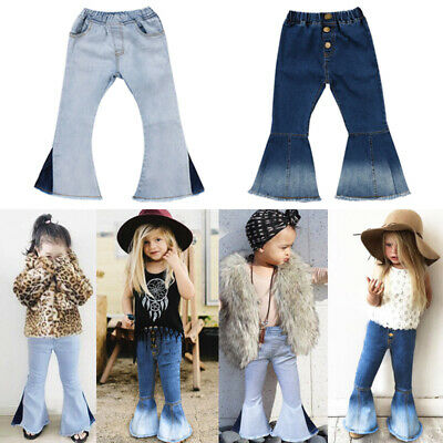 US Stock Toddler Kids Baby Girl Bell-Bottoms Pants Denim Wide Leg Jeans Trousers