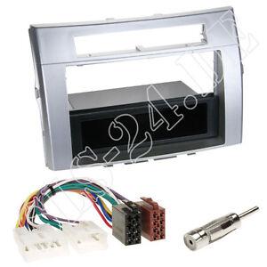 Toyota Corolla Verso Doppel 2-DIN Radioblende+Fach silber+ISO Radio Adapter SET