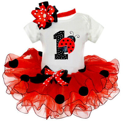 Baby Girl 1st Birthday Outfits Sets Tutu Ladybug Toddler Girls Party Clothes - Ladybug 1st Birthday
