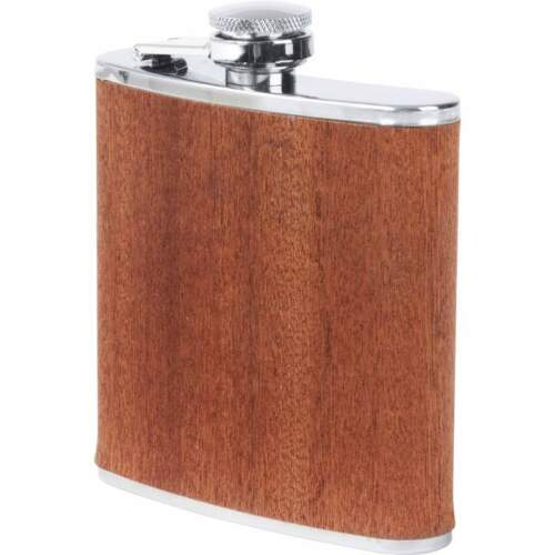 FLASK 6oz Real SAPELE WOOD Wrap Screw Cap Top Hip Pocket Liquor Whiskey Alcohol