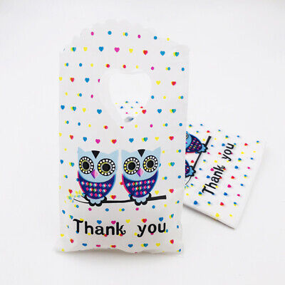 Owl Gift Bags (50pcs Owl Plastic Pouches Gift Bags Wedding Party Jewelry Packing Bags)