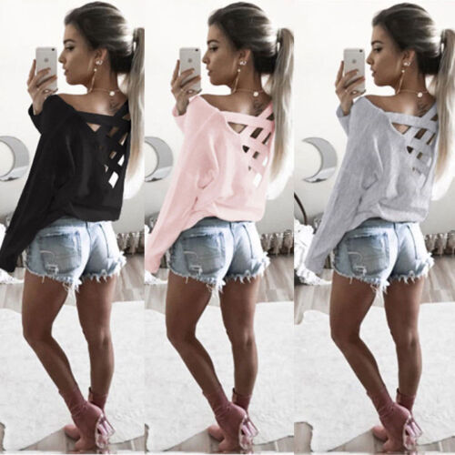 Hot Fashion Womens Summer Long Sleeve Tops Casual Blouse Loose Cotton T Shirt