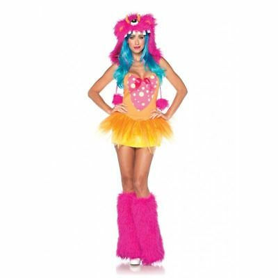 3 pc Shaggy Shelly Monster Women Halloween Costume (Dress+Hood+Leg Warmer)S(M/L)
