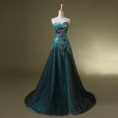 Plus Size Long Prom  Peacock Masquerade Party Dresses Vintage Costume Ball Gowns (Masquerade Plus Size Costumes)