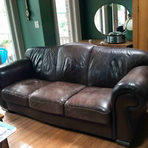 FREE! Brown Leather Couch