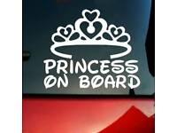 Princess on board sticker