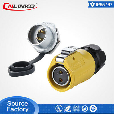 Cnlinko M20 2 Pin Connector Ip67 Waterproof Industrial Male Female Plug Socket