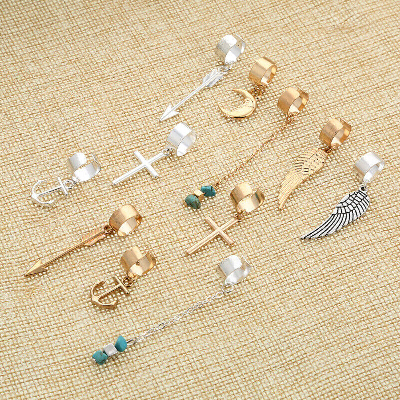 Gold Silver Hair Dread Braids Dreadlock Bead Adjustable Cuff Clip Ring Beads