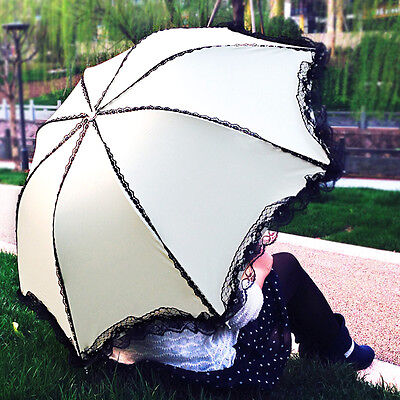 (Hot Sale Womens lace Princess Folding Rain umbrella Anti UV Sun Parasol 6Color)
