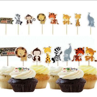 24Pcs  Animal Cake Topper Cartoon Jungle Safari Kid Birthday Party Cake Decor ()