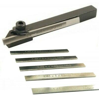 Mini Parting Tool Holder With 6pcs Hss Blades For Mini Lathes - 8mm Shank