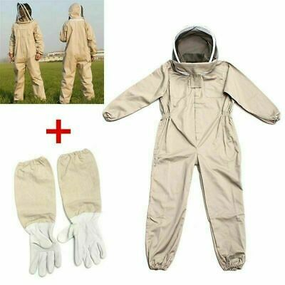 Professional Ventilated Full Body Beekeeping Bee Keeping Suit Leather Glove Hat