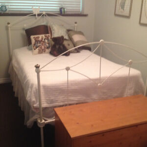 Antique white iron wrought bed frame