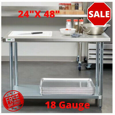 24 X 48 18 Gauge 304 Stainless Steel Commercial Work Table W Galvanized Legs