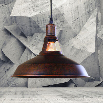 (Copper Antique Industrial Barn LED Hanging Pendant Light with Metal Dome Shade)