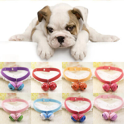 - Suede Fabric Cat Dog Puppy Pet Collar Cute Solid Color Bell Collars Adjustable