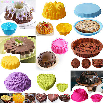 Silicone Round Cake Bundt Mold Pan Muffin Bread Pizza Pastry Bakeware Tray Mould ()